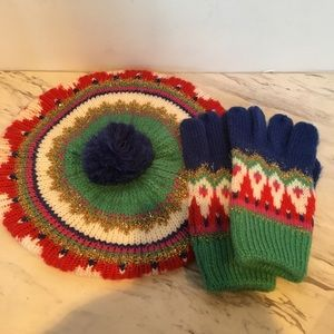 Mini Boden Knit Beret and Matching Gloves